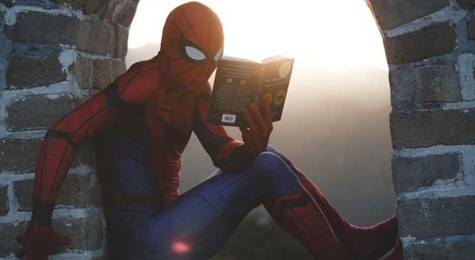 Spider man reading